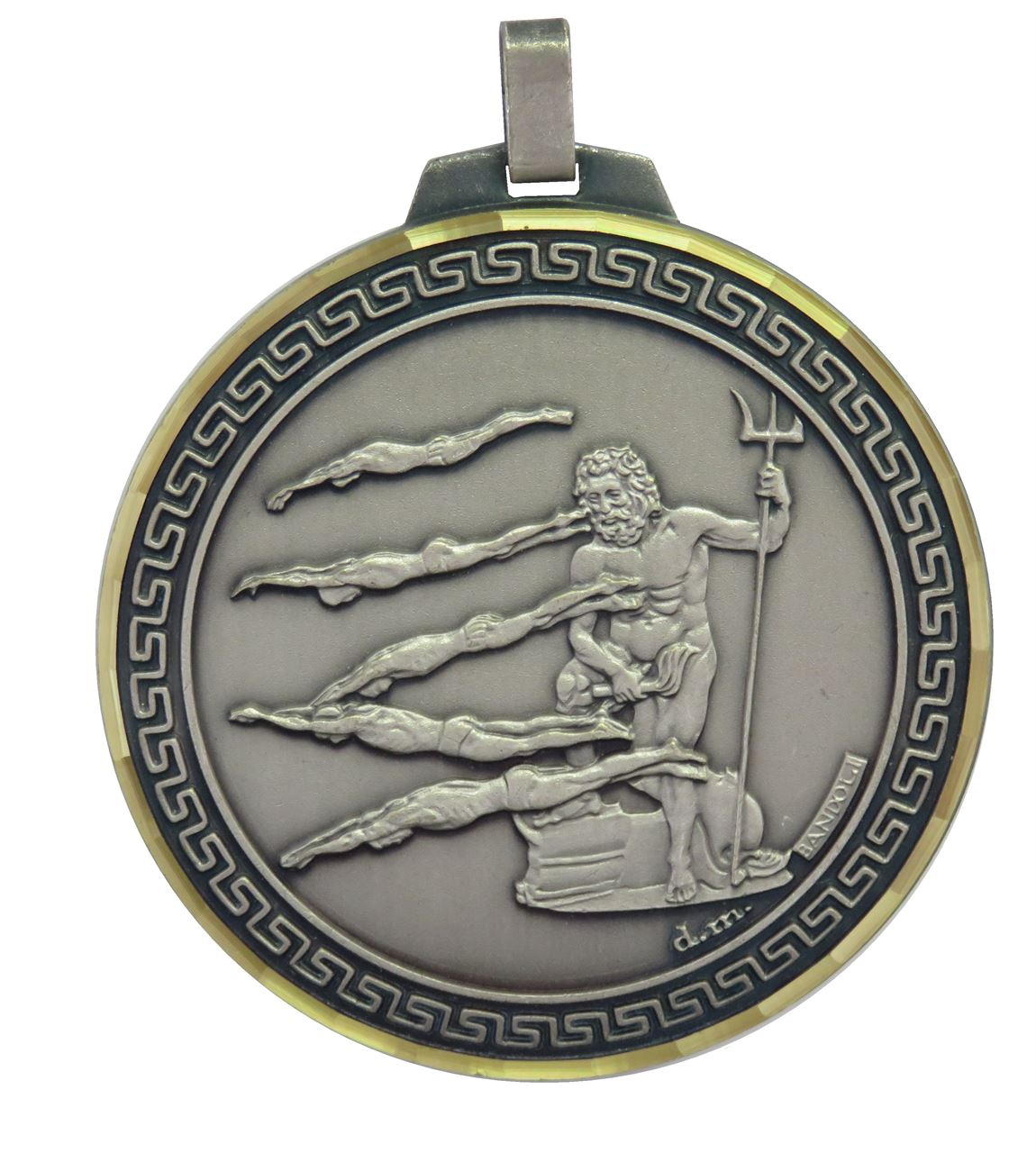 Silver Faceted Male Swimming Medal (size: 70mm) - 248F