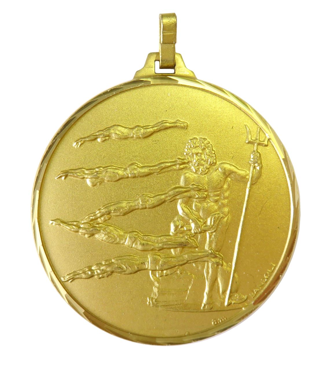 Gold Faceted Male Swimming Medal (size: 42mm) - 248F