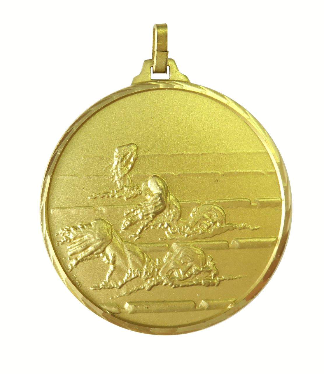 Gold Faceted Male Swimming Medal (size: 42mm) - 245F