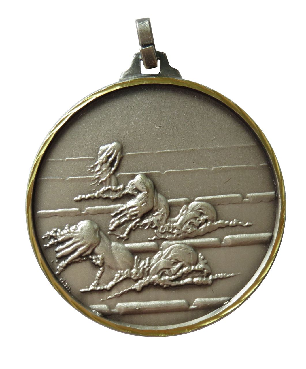 Silver Faceted Male Swimming Medal (size: 42mm) - 245F