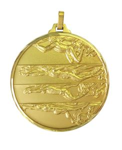 Gold Faceted Male Swimming Medal (size: 42mm) - 244F
