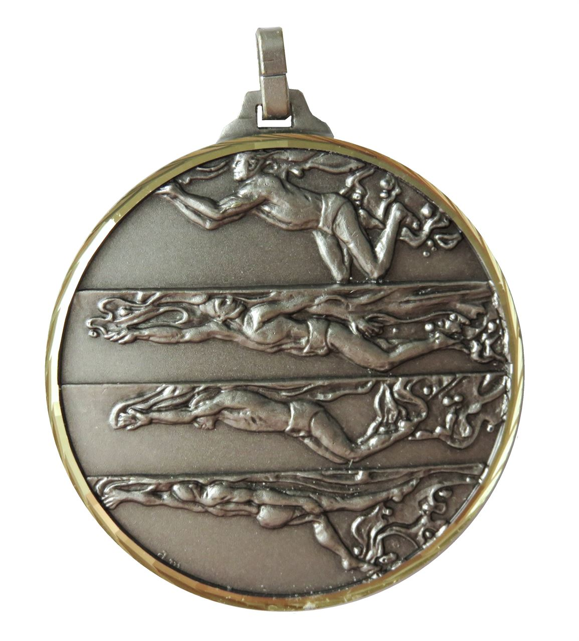 Silver Faceted Male Swimming Medal (size: 42mm) - 244F