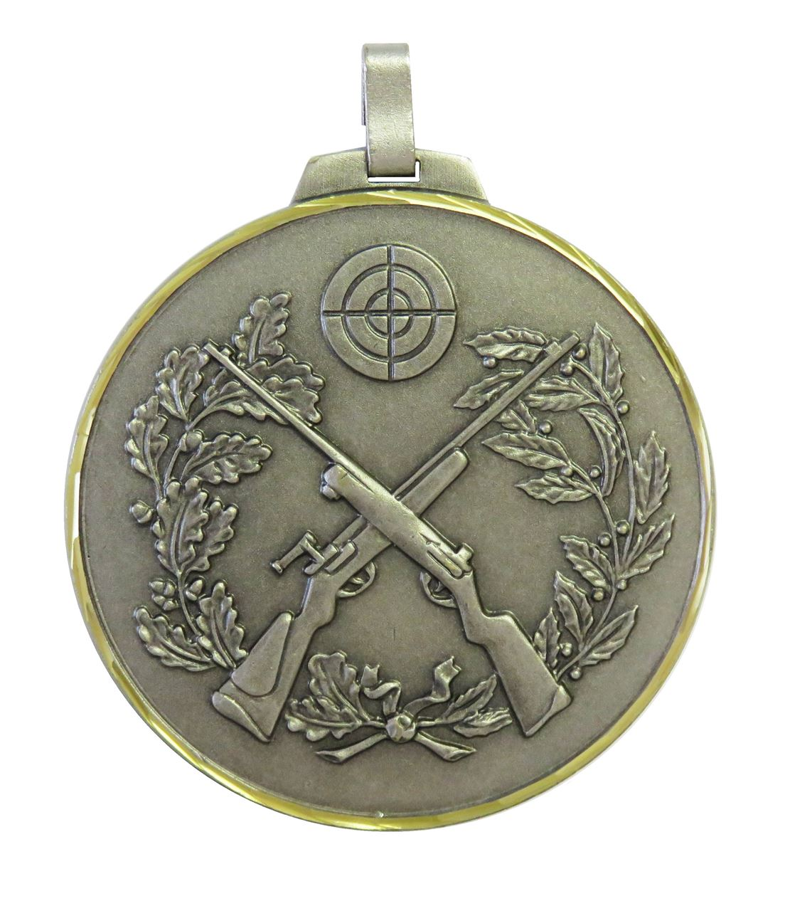 Silver Faceted Cross Rifles Medal (size: 70mm) - 394F/70S