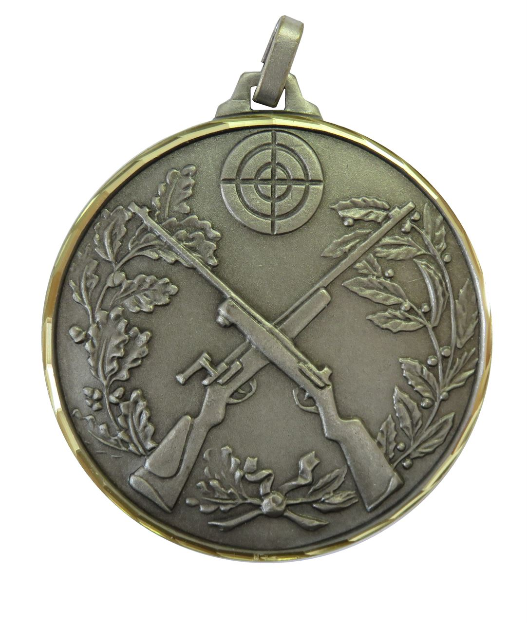 Silver Faceted Cross Rifles Medal (size: 52mm) - 394F/52S