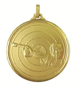 Gold Faceted Target Shooting Medal (size: 52mm) - 335F/52G