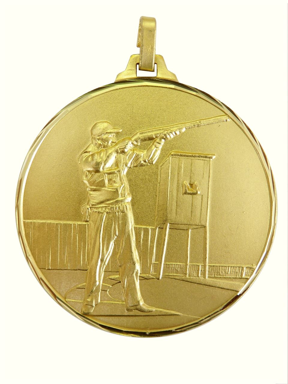 Gold Faceted Clay Pigeon Medal (size: 52mm) - 331F/52G