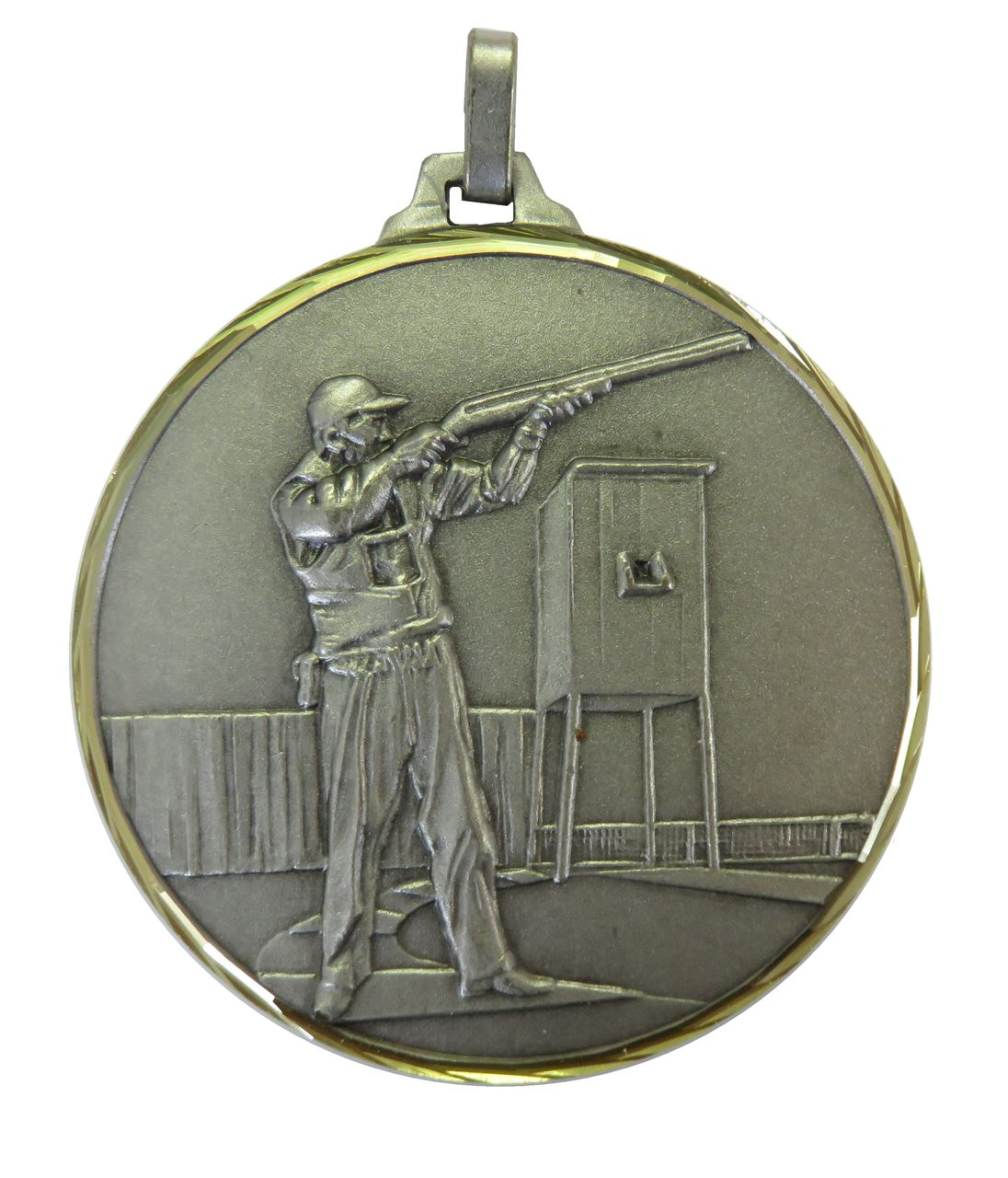 Silver Faceted Clay Pigeon Medal (size: 52mm) - 331F/52S