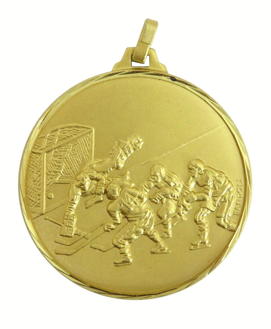 Gold Faceted Ice Hockey Medal (size: 52mm) - 225/52G