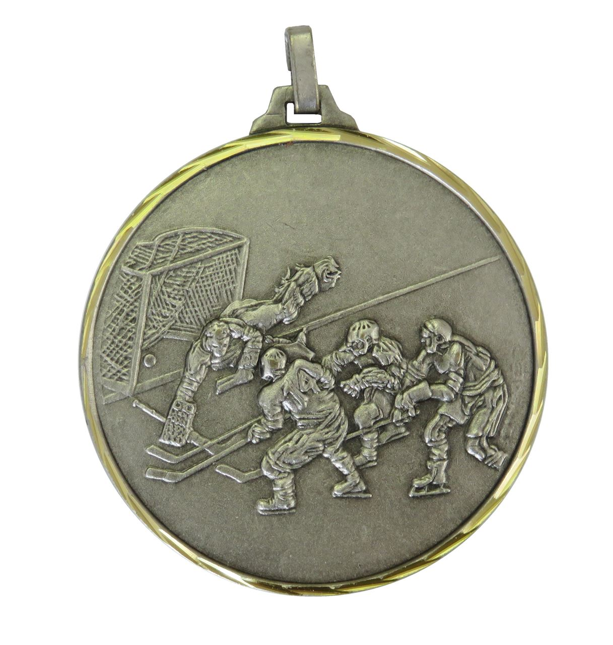 Silver Faceted Ice Hockey Medal (size: 52mm) - 225/52S