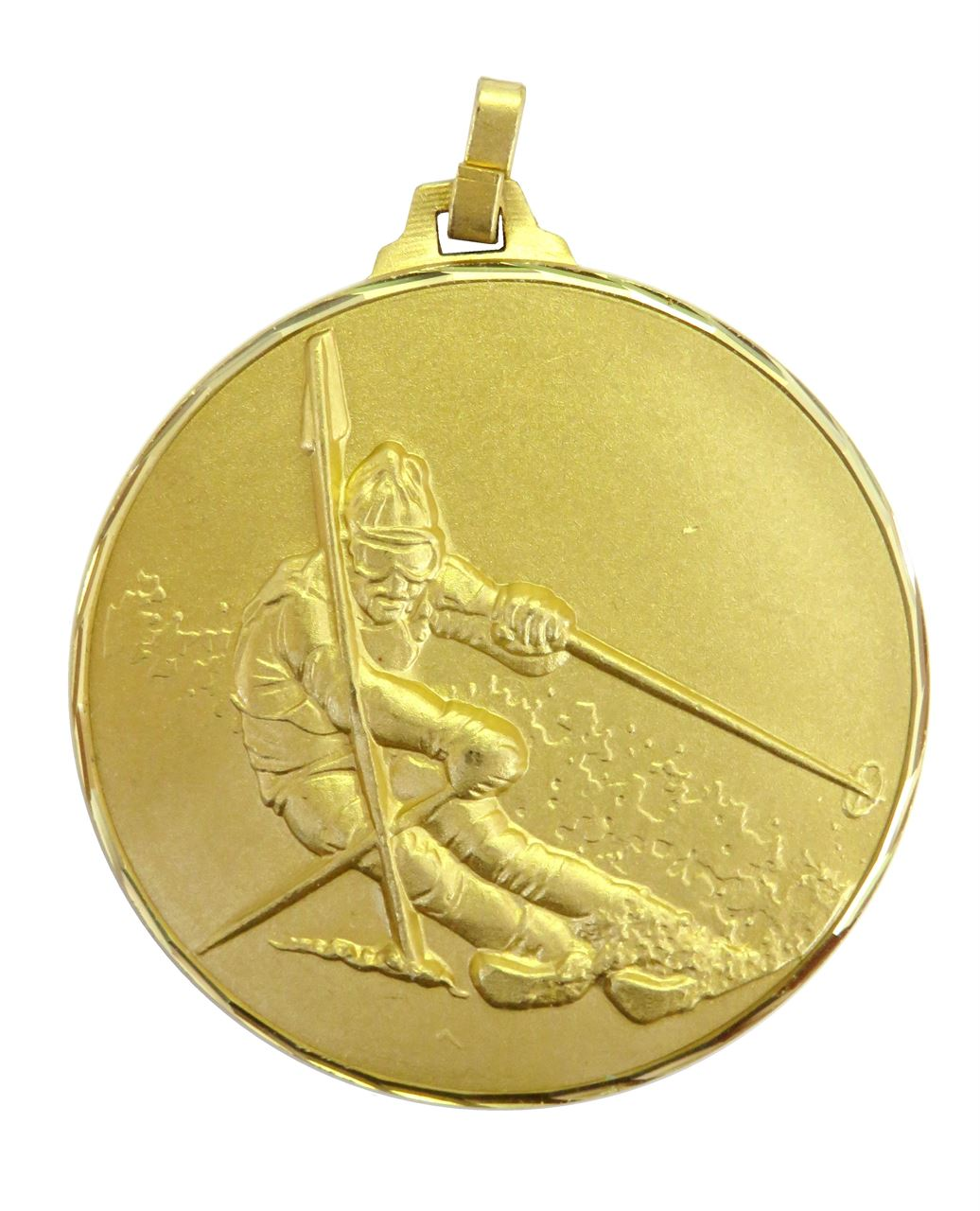 Gold Faceted Skiing Medal (size: 52mm) - 286F/52G