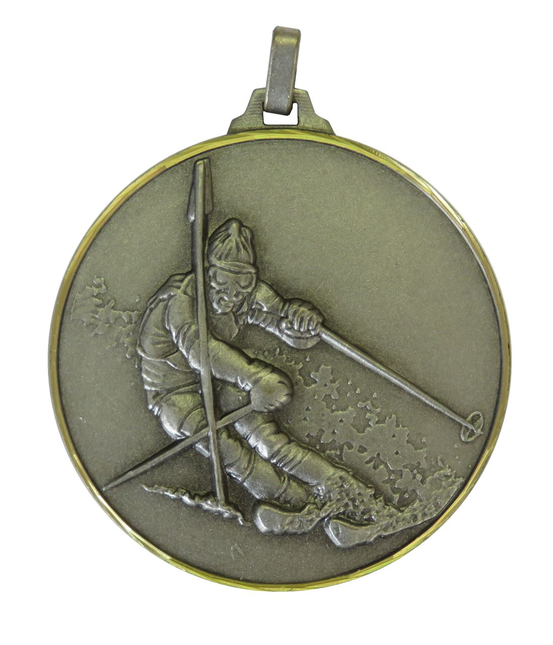 Slver Faceted Skiing Medal (size: 52mm) - 286F/52S