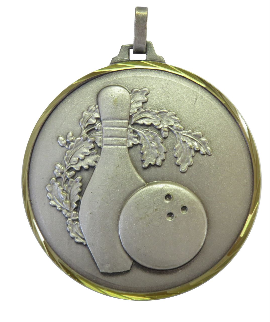 Silver Faceted Ten Pin Bowling Medal (size: 42mm and 52mm) - 366F