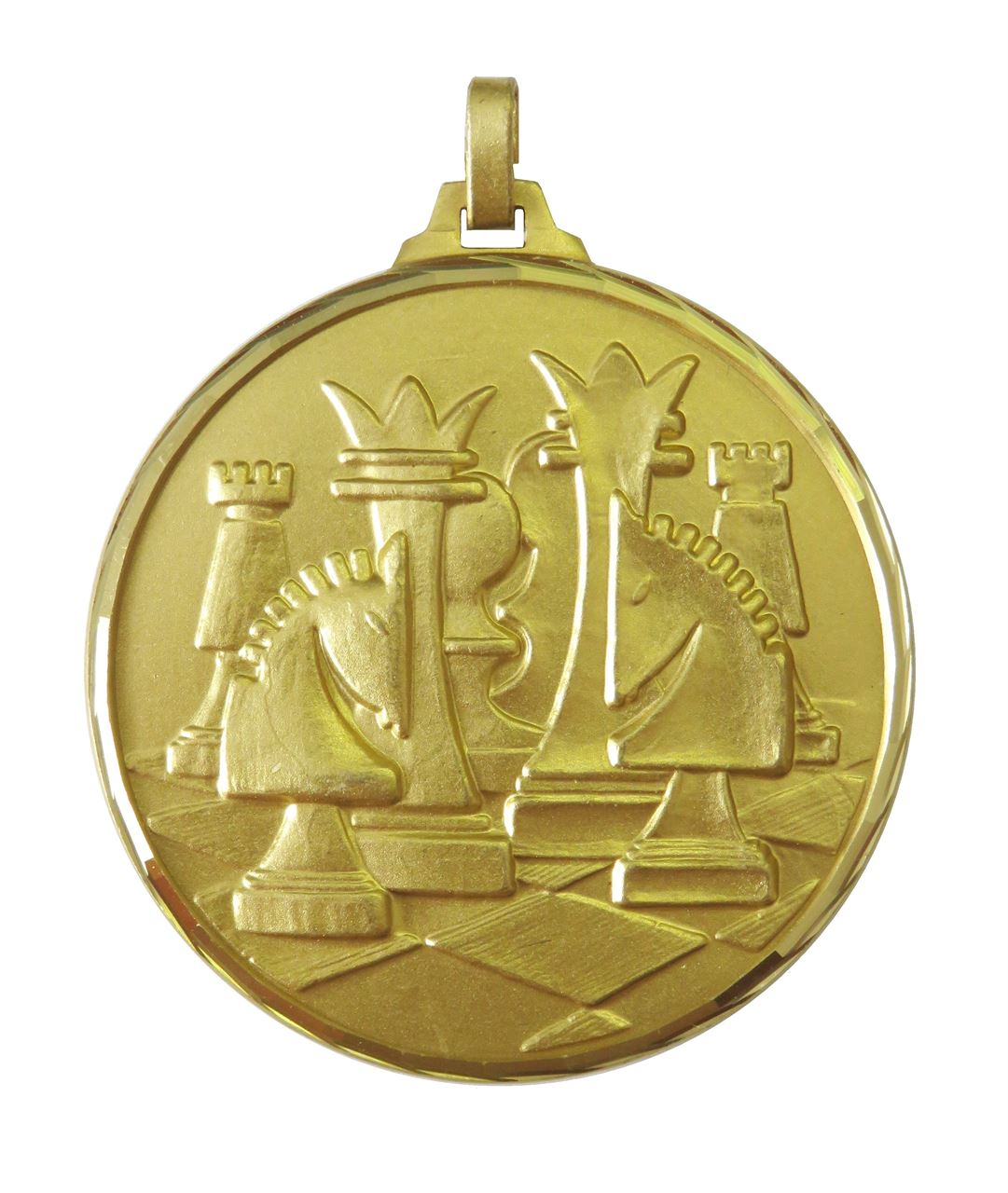 Gold Faceted Chess Medal (size: 52mm) - 376F