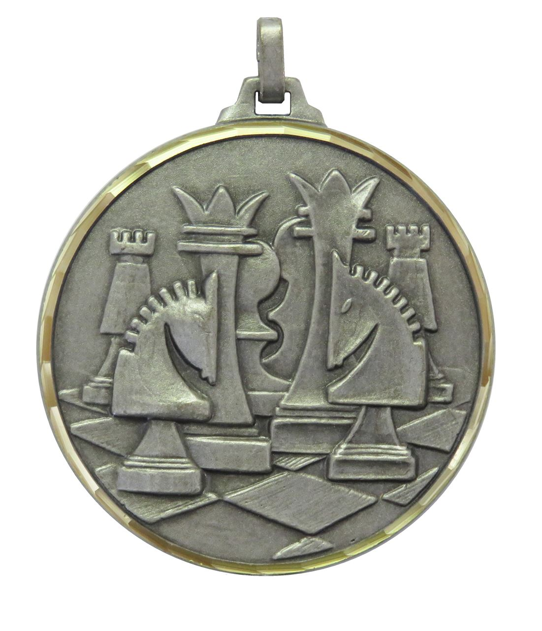 Silver Faceted Chess Medal (size: 52mm) - 376F