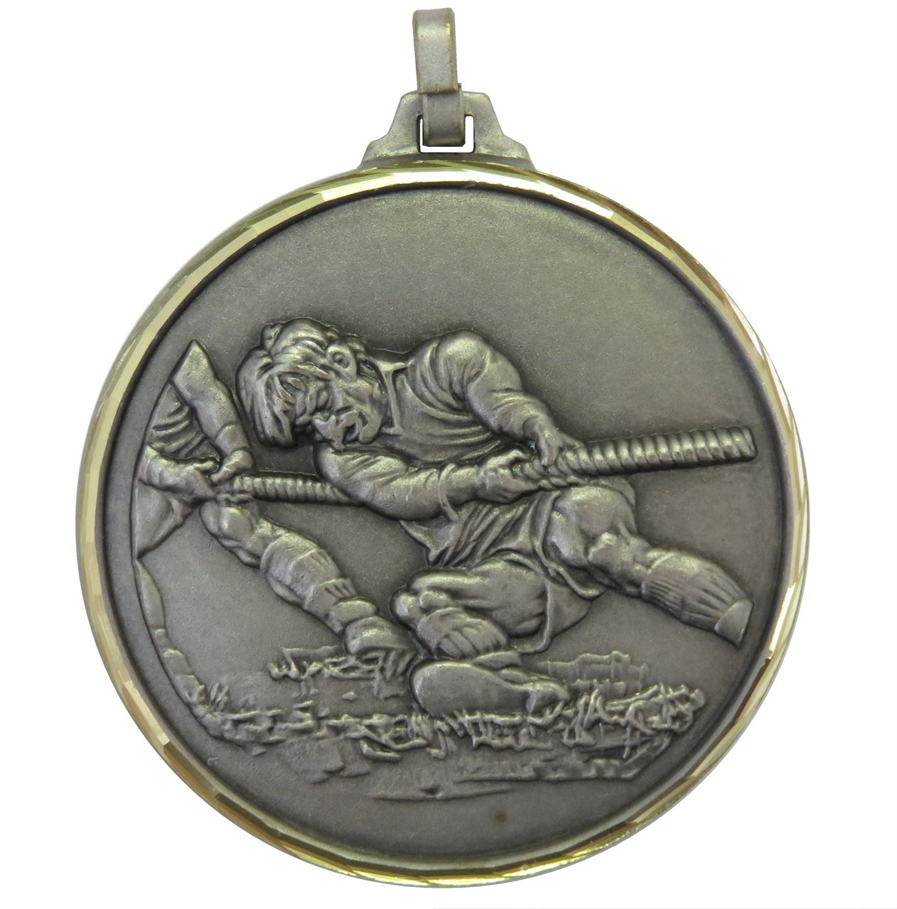 Silver Faceted Tug-O-War Medal (size: 52mm) - 336F