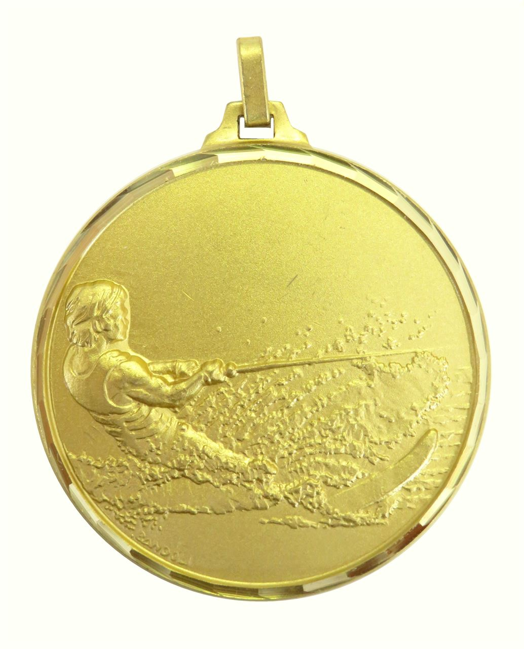 Gold Faceted Water Skiing Medal (size: 52mm) - 319F