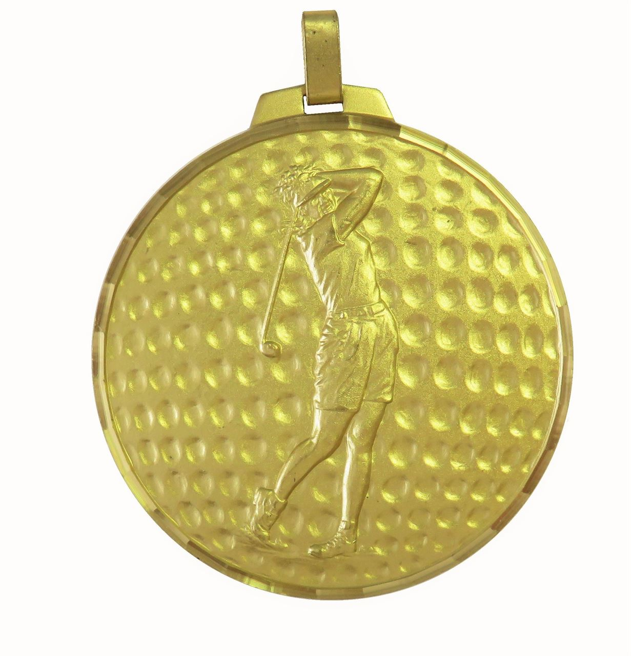 Gold Faceted Female Golf Medal (size: 42mm, 52mm and 70mm) - 399F