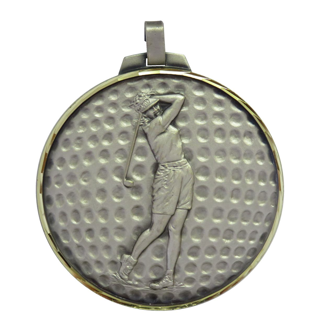 Silver  Faceted Female Golf Medal (size: 42mm, 52mm and 70mm) - 399F
