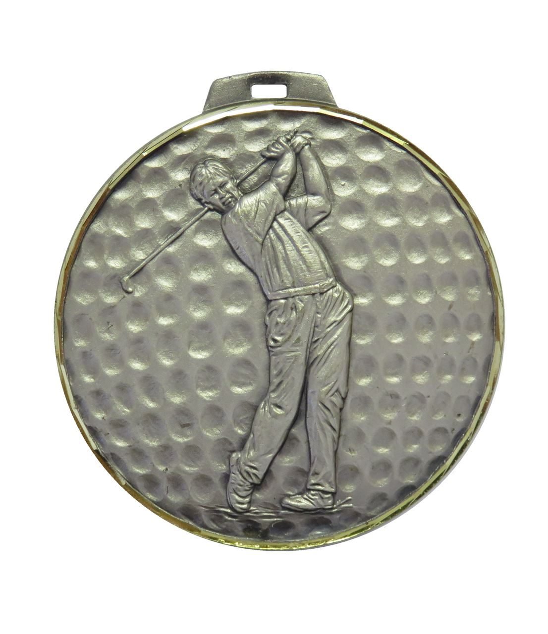 Silver Faceted Male Golf Medal (size: 42mm, 52mm, 60mm and 70mm) - 398F