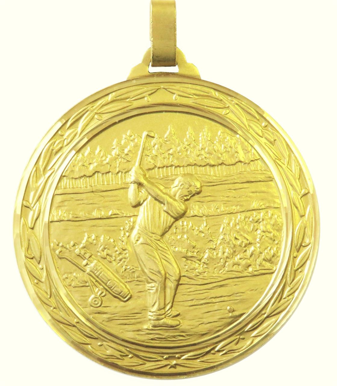 Gold Faceted Male Golf Medal (size: 60mm) - 386F