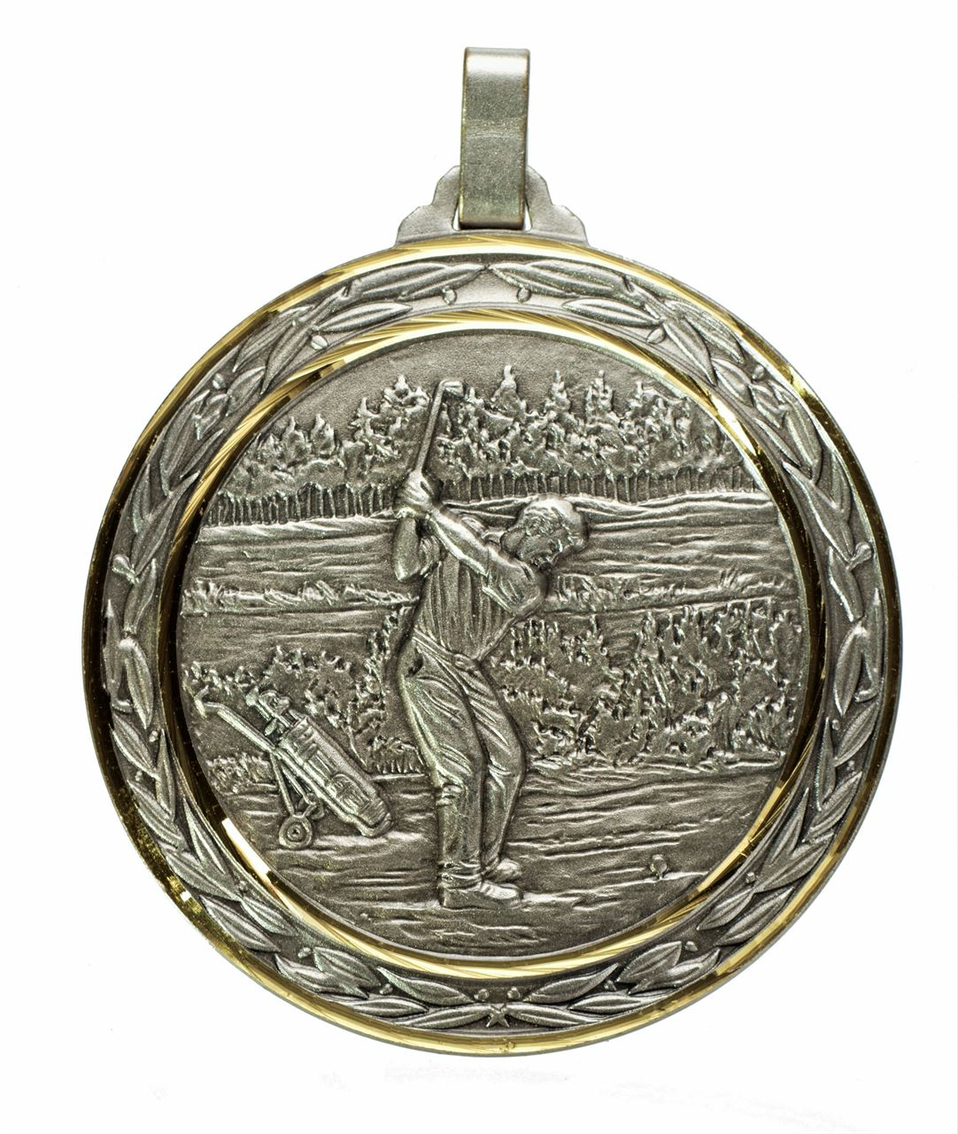 Silver Faceted Male Golf Medal (size: 60mm) - 386F