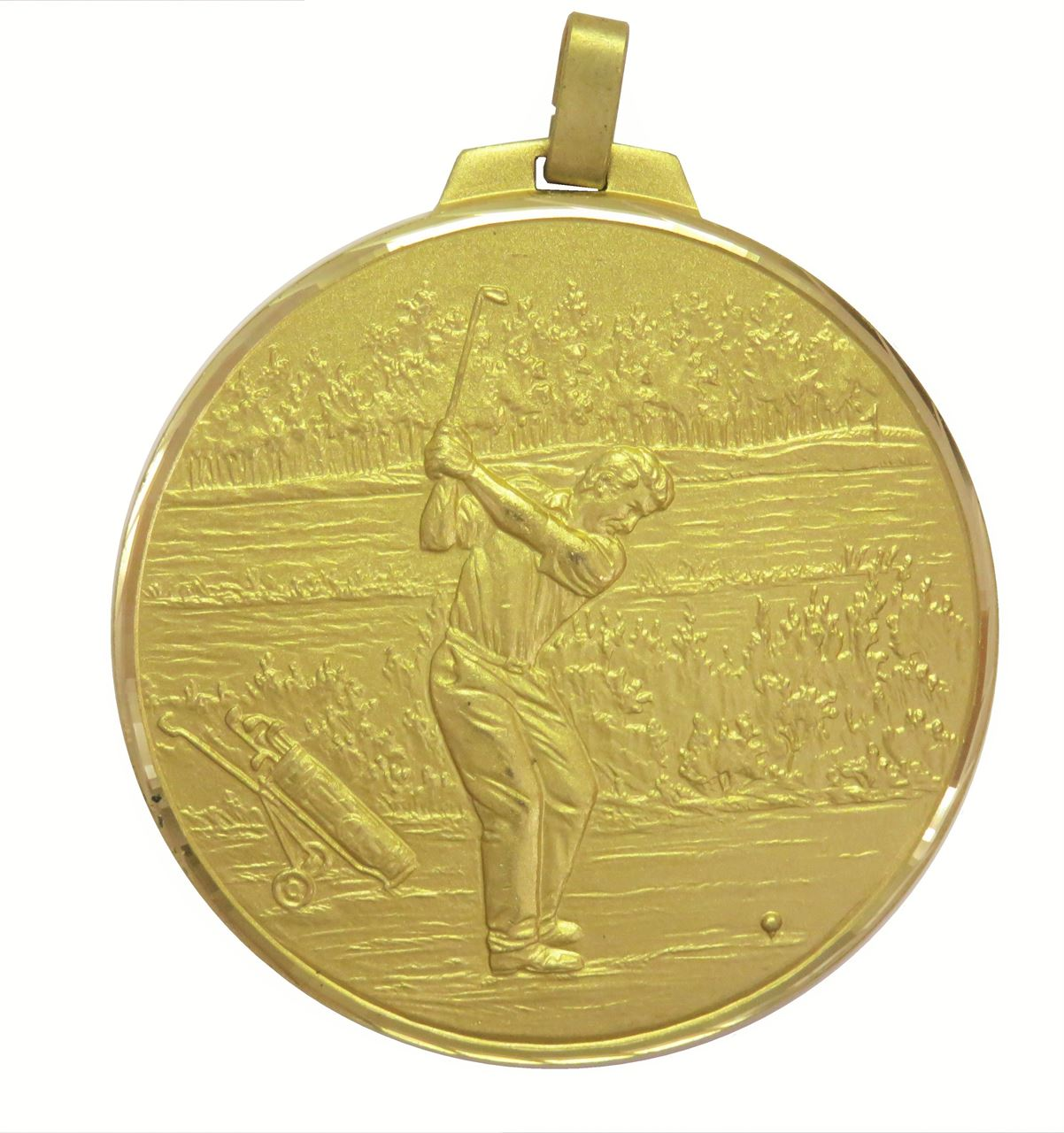 Gold Faceted Male Golf Medal (size: 50mm and 70mm) - 398F