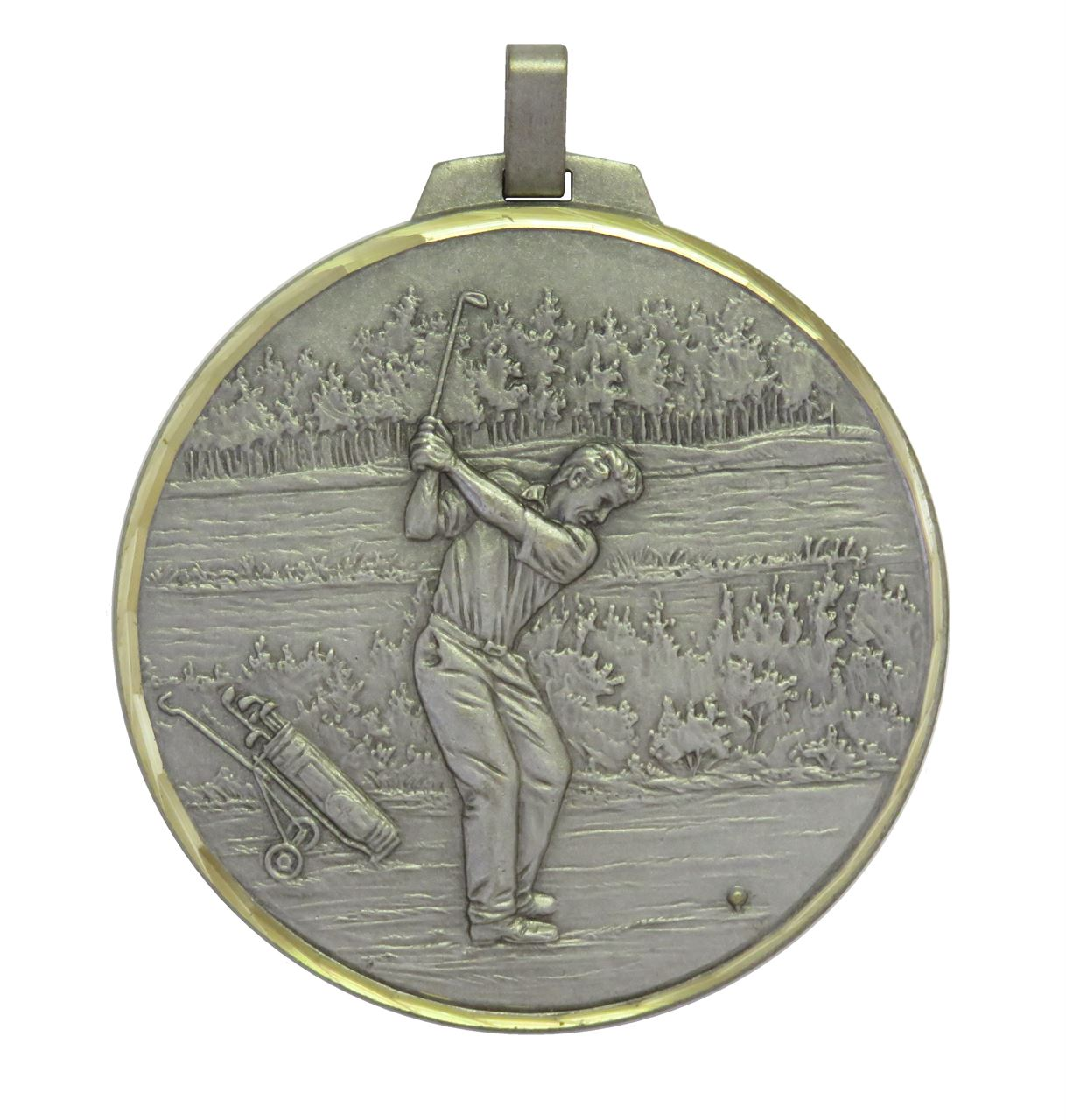Silver Faceted Male Golf Medal (size: 50mm and 70mm) - 398F