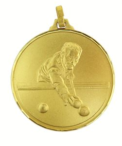 Gold Faceted Snooker / Pool Medal (size: 52mm) - 147F
