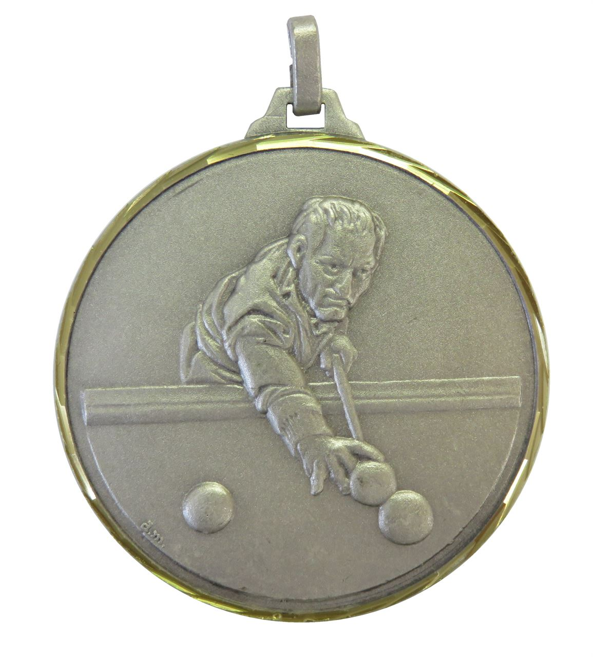 Silver Faceted Snooker / Pool Medal (size: 52mm) - 147F