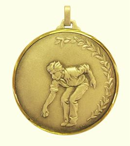 Gold Faceted Petanque Medal (size: 52mm) - 153F