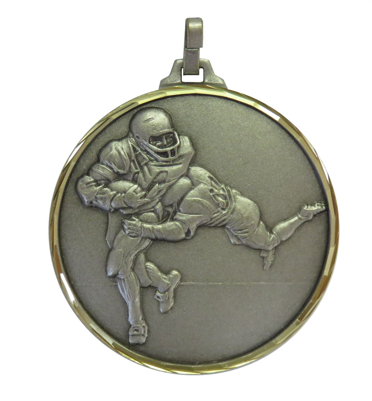 Silver Faceted American Football Medal (size: 52mm) - 282F