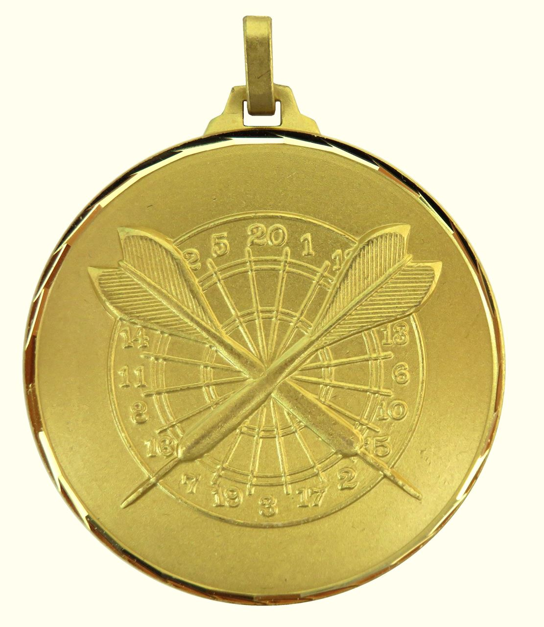 Gold Faceted Darts Medal (size: 52mm) - H38F