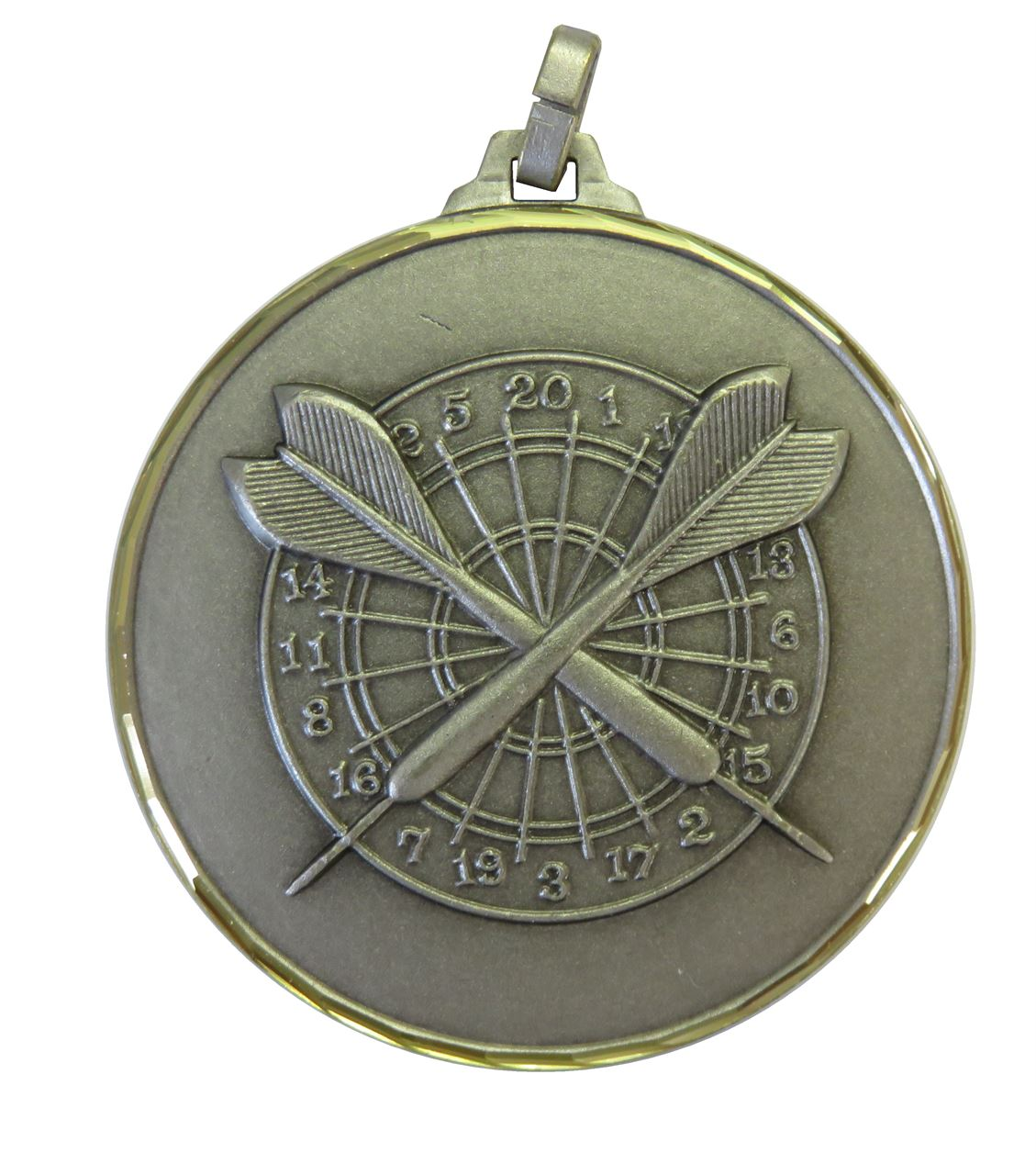 Silver Faceted Darts Medal (size: 52mm) - H38F