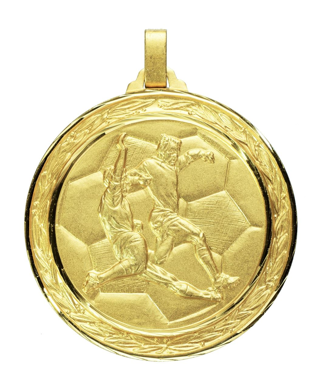 Gold Faceted Football Medal (size: 60mm) - 176F