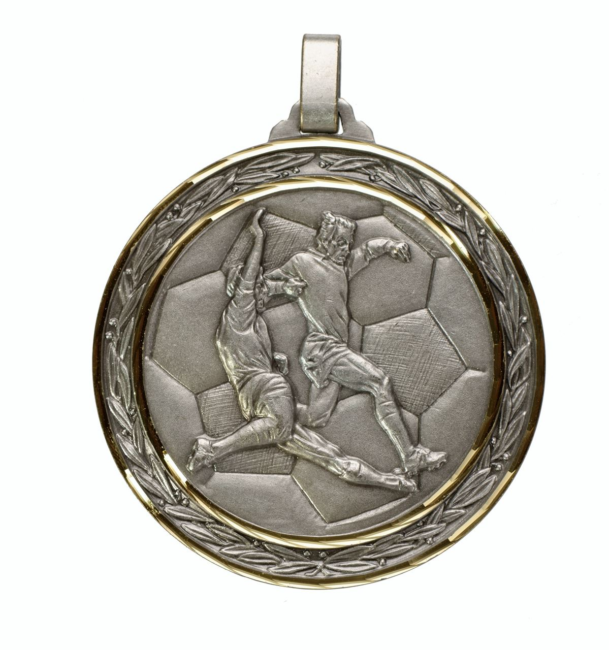 Silver Faceted Football Medal (size: 60mm) - 176F