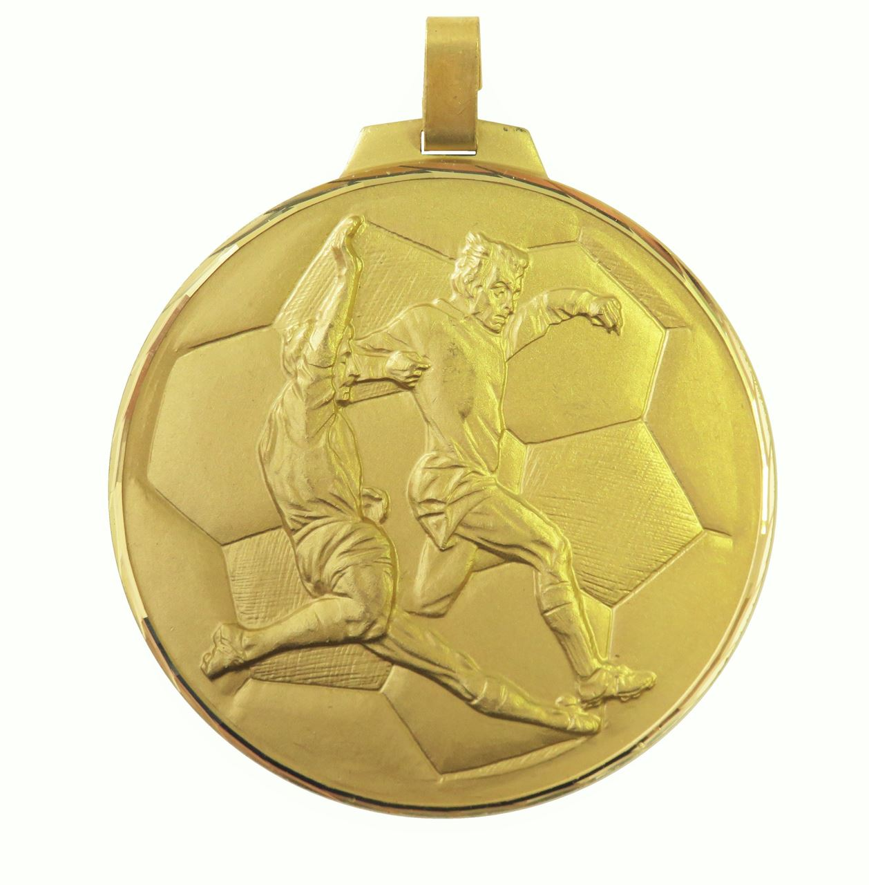 Gold Faceted Football Medal (size: 42mm, 52mm and 70mm) - 176F