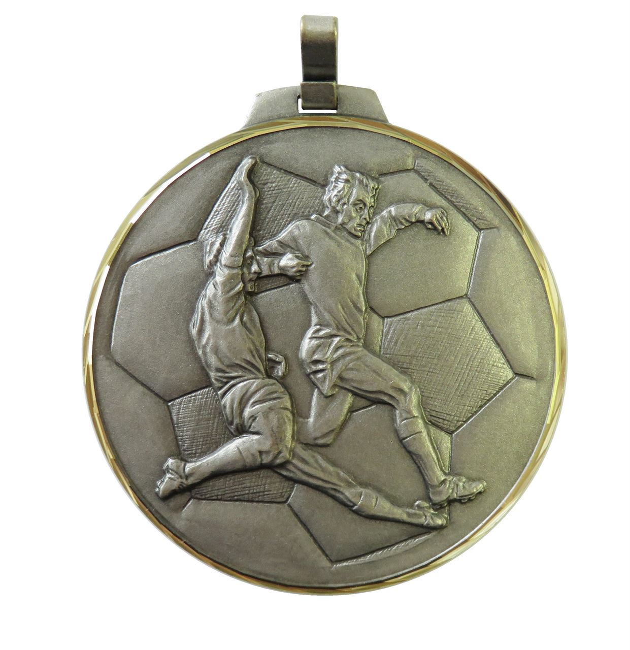 Silver Faceted Football Medal (size: 42mm, 52mm and 70mm) - 176F