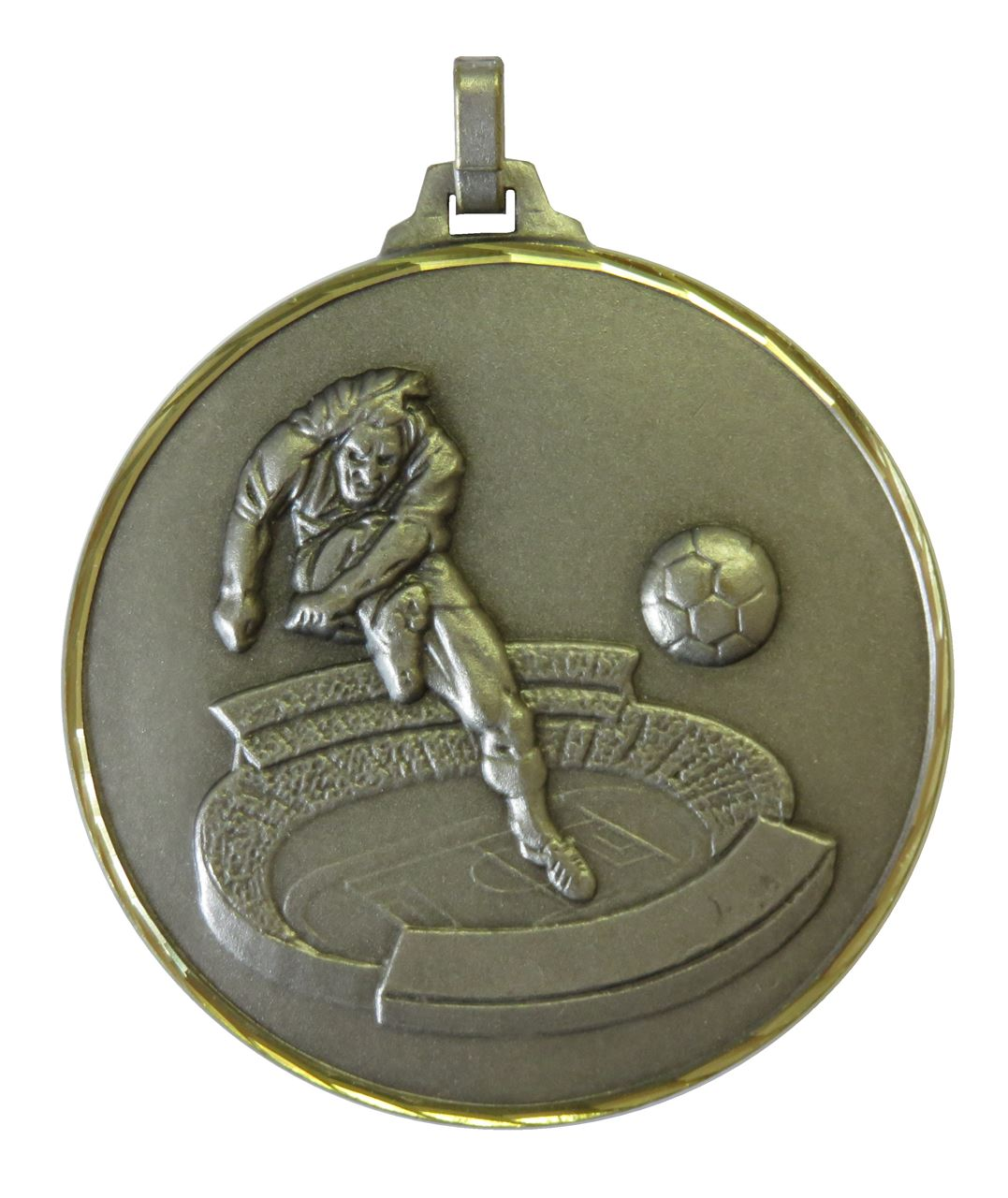 Silver Faceted Football Stadium Medal (size: 42mm and 52mm) - 177F