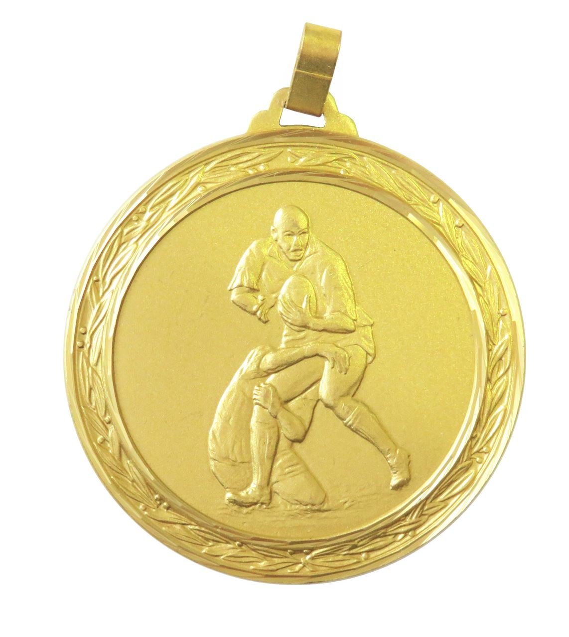 Gold Faceted Rugby Medal (size: 60mm) - 402F