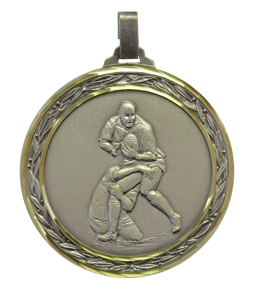 Silver Faceted Rugby Medal (size: 60mm) - 402F