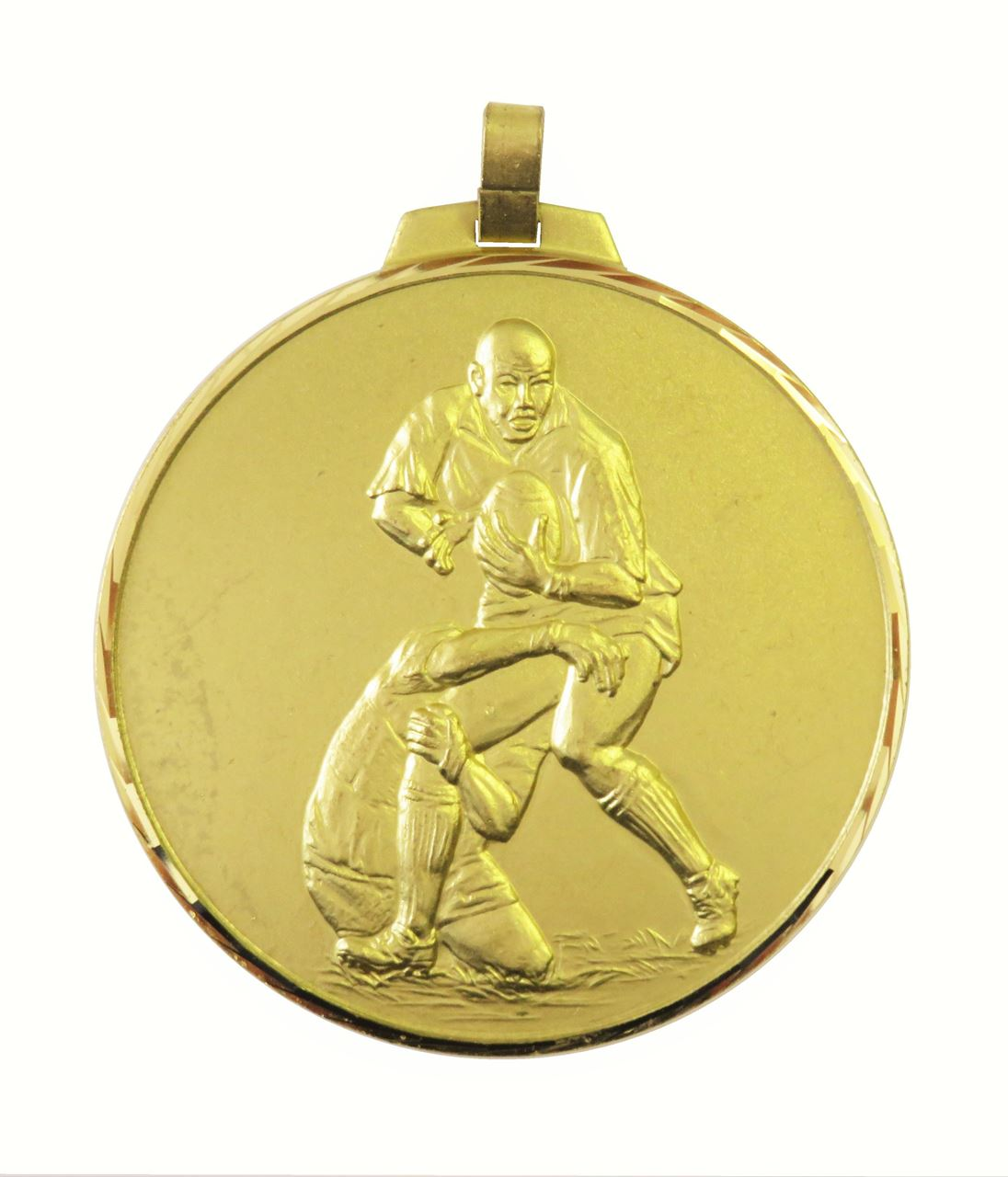 Gold Faceted Rugby Medal (size: 42mm, 52mm and 70mm) - 402F