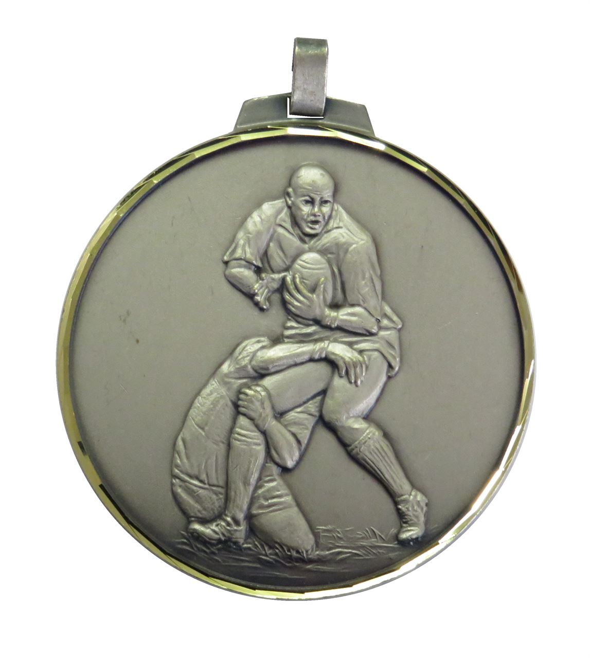 Silver Faceted Rugby Medal (size: 42mm, 52mm and 70mm) - 402F