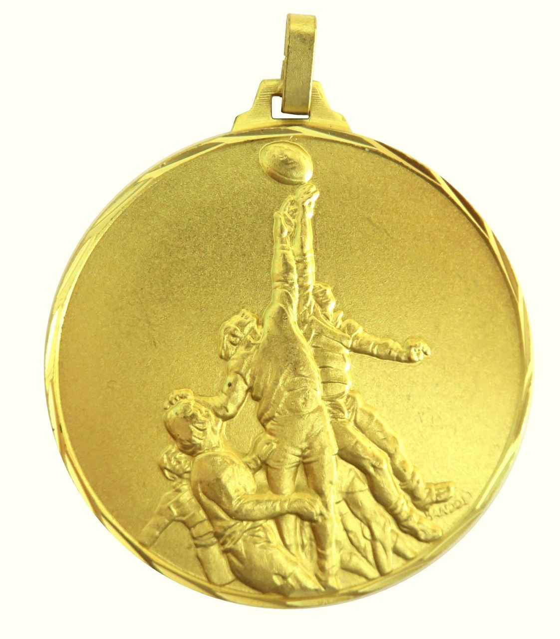 Gold Faceted Rugby Lineout Medal (size: 42mm and 52mm) - 281F