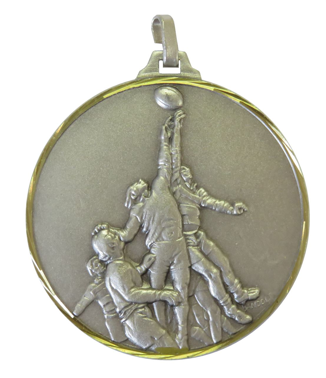 Silver Faceted Rugby Lineout Medal (size: 42mm and 52mm) - 281F