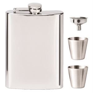 Vision Mirror Polished Hip Flask with Cups - HF012