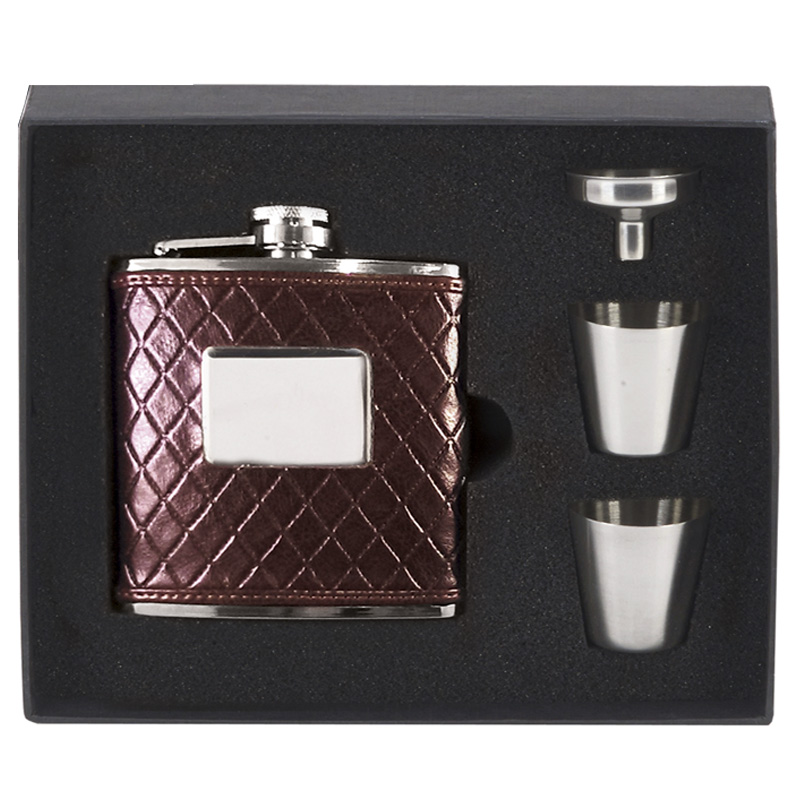 Vision Brown Leather Wrapped Hip Flask Boxed