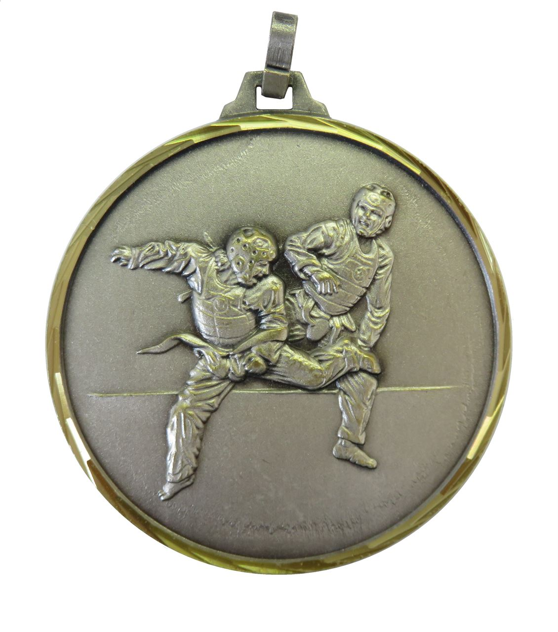 Silver Faceted Martial Arts Medal (size: 52mm) - 125F