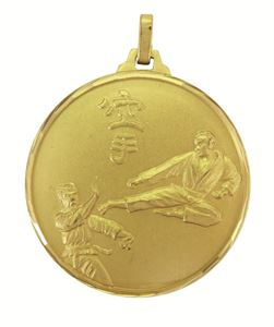 Gold Faceted Karate Medal (size: 42mm and 52mm) - 129F