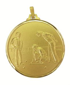 Gold Faceted Lawn Bowls Medal (size: 52mm) - 151F