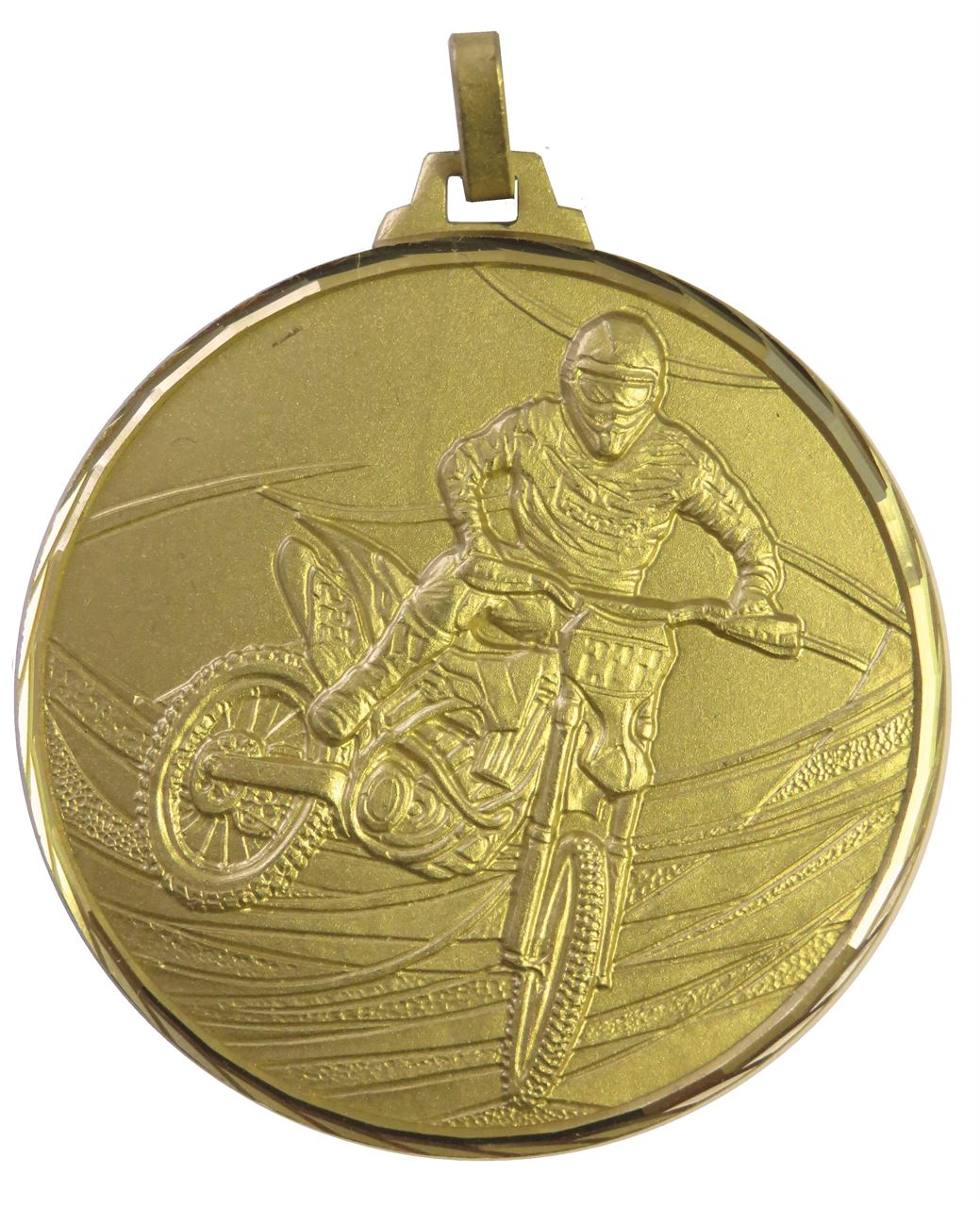 Gold Faceted Motorcross Medal (size: 52mm) - 439F